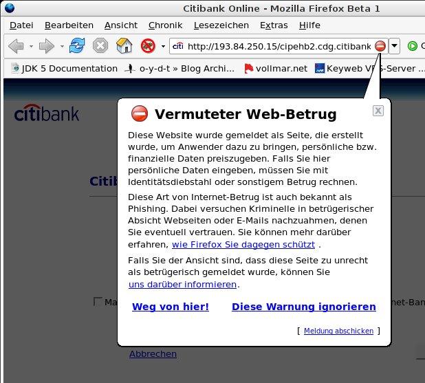 Phishing-Warnung unter Firefox 2.0