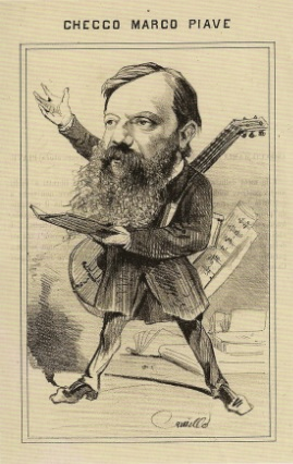 "Caricature of Piave as ""a theatrical jack-of-all-trades"", after 1861 Piave caricature.jpg"