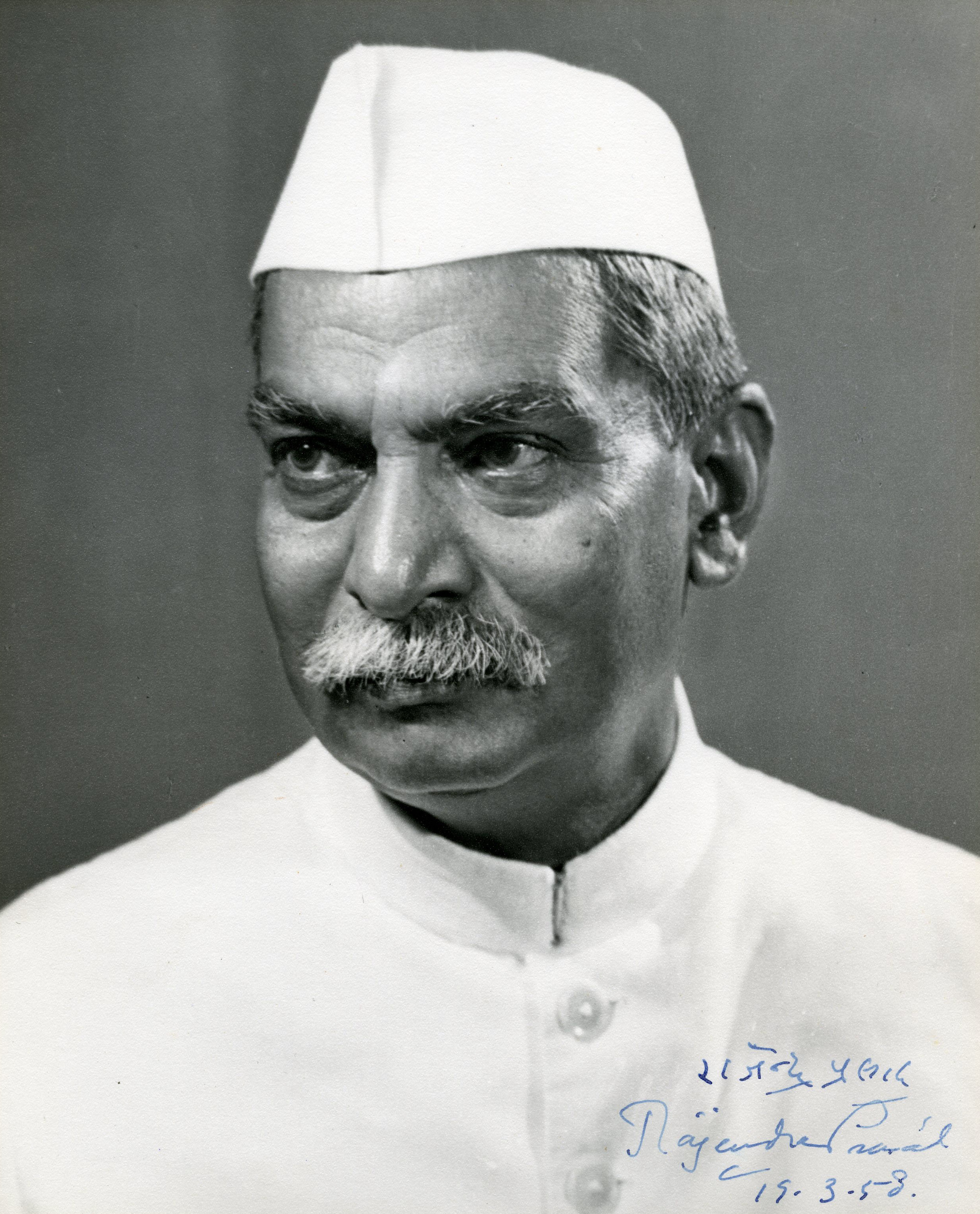 Rajendra Prasad (Indian President), signed image for Walter Nash (NZ Prime Minister), 1958 (16017609534).jpg
