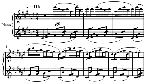 "Quartal harmony in ""Laideronnette"" from Ravel's Ma Mère l'Oye. The top line uses the pentatonic scale