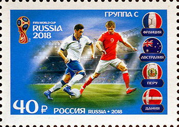 2018 postage stamp from Russia depicting Group C of the 2018 FIFA World Cup group stage. Russia stamp 2018 No.  2347.jpg