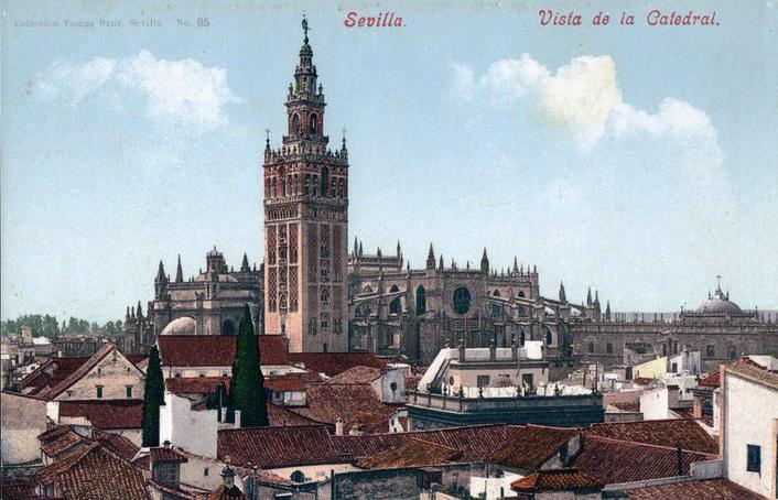 La Giralda domine l'horizon de la Séville sur cette ancienne carte postale.