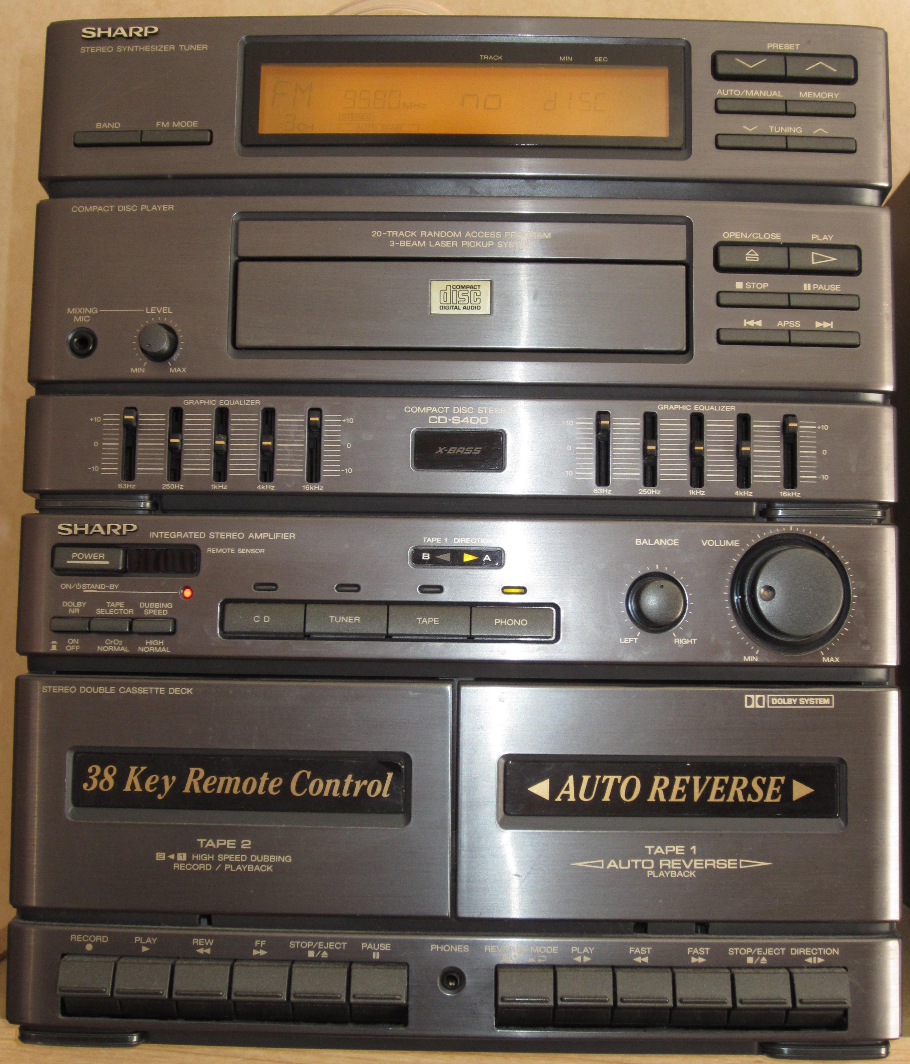file sharp cd s400 jpg wikimedia commons rh commons wikimedia org Sharp TV Sound Bar Systems Sharp 5 CD Stereo System
