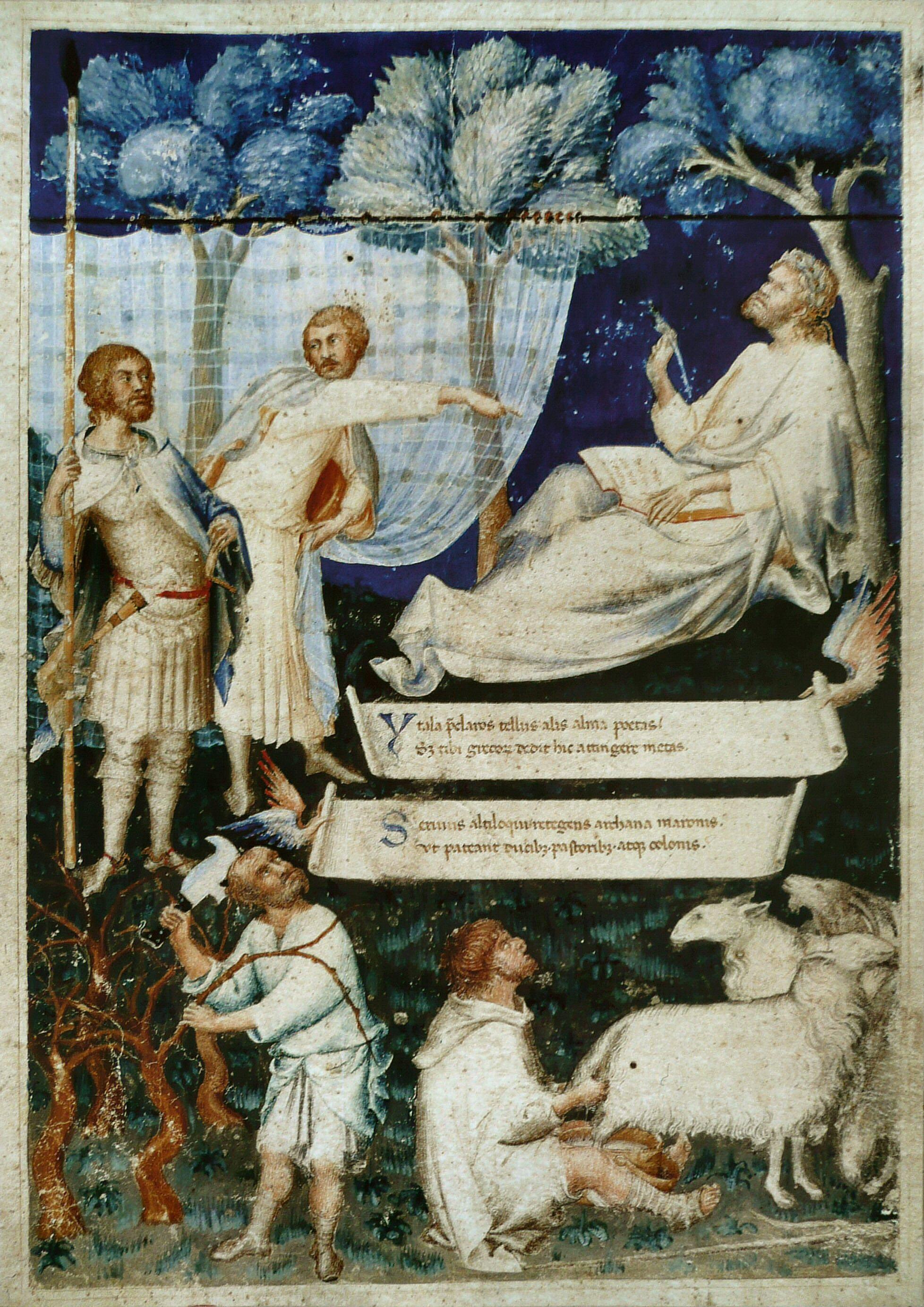 Simone Martini. Illustration by Virgil, XIV century.