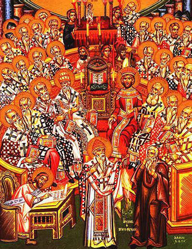 Eastern Orthodox icon depicting the First Council of Nicea
