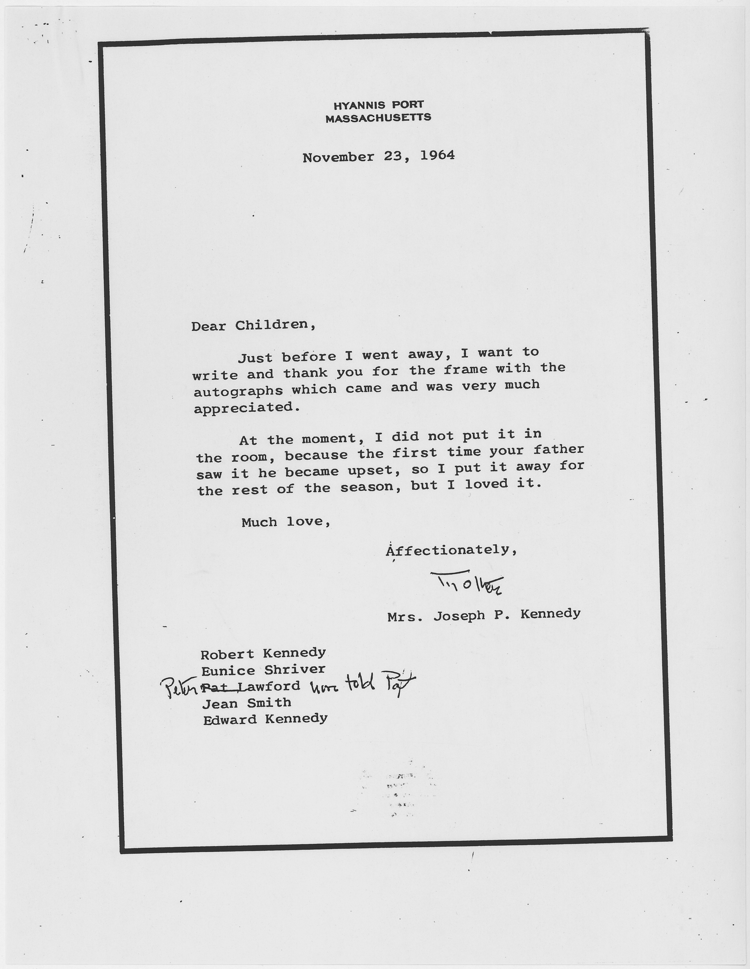 file thank you note from rose kennedy november 23 1964 nara