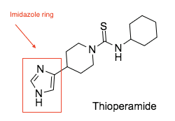 Chemical structure of thioperamide. Early pharmacophore contained an imidazole ring.