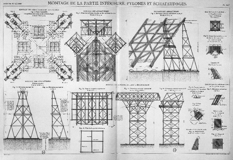 Tour Eiffel Montage de la partie inférieure, et pylones.JPG
