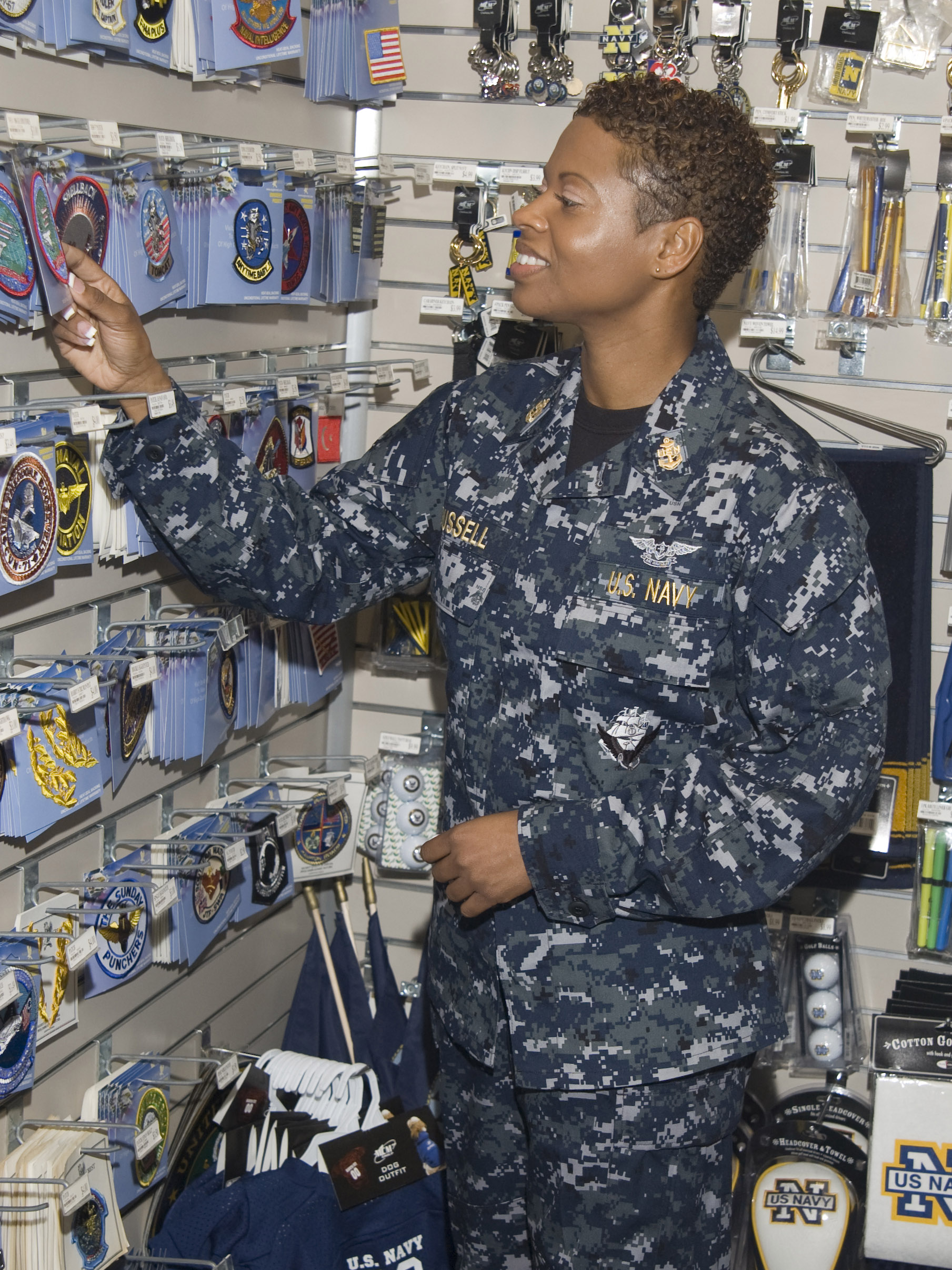 ... Navy working uniform (NWU) while shopping at the Naval Air Station