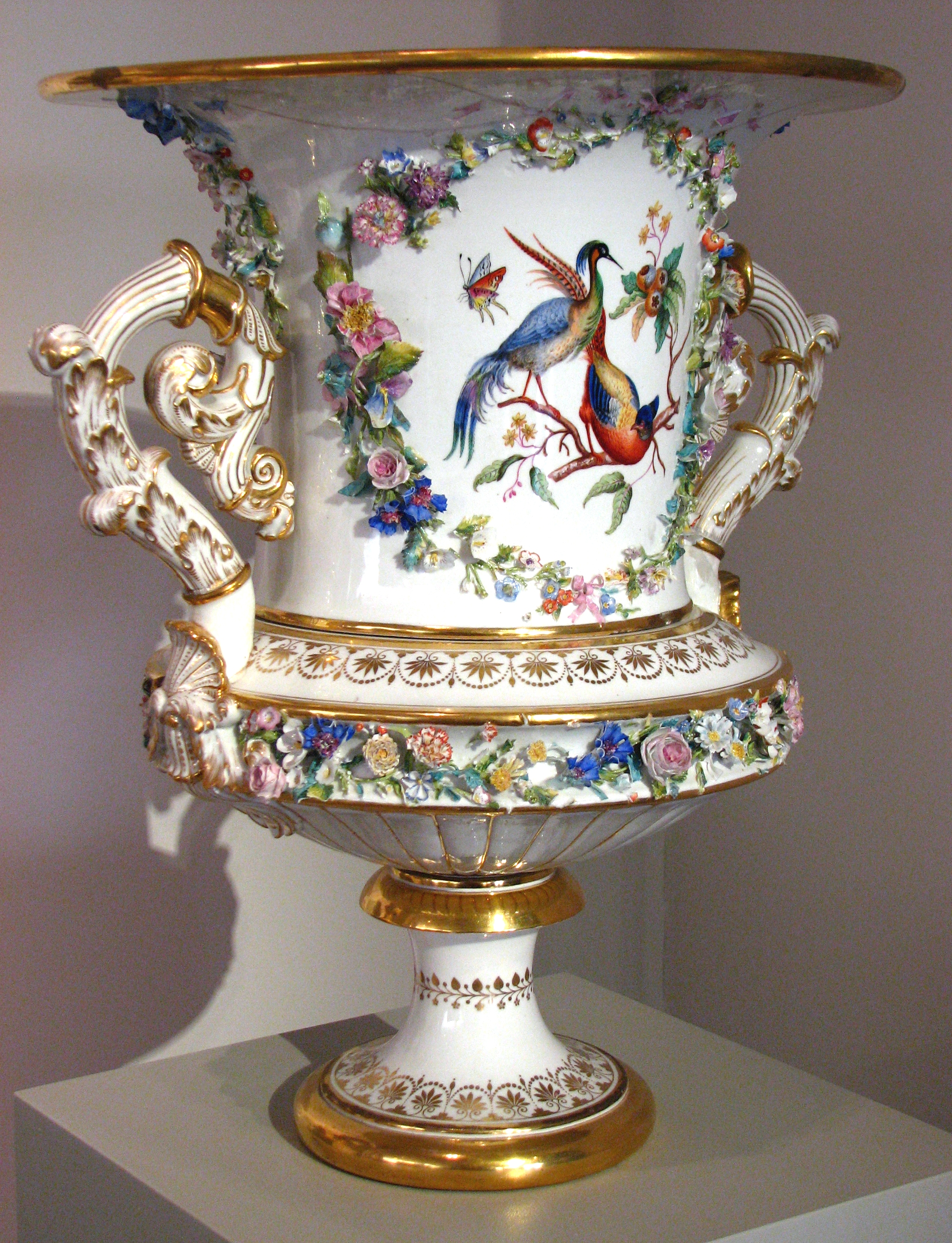 File vase with floral decoration rococo revival style 01 for Rococo decorative style
