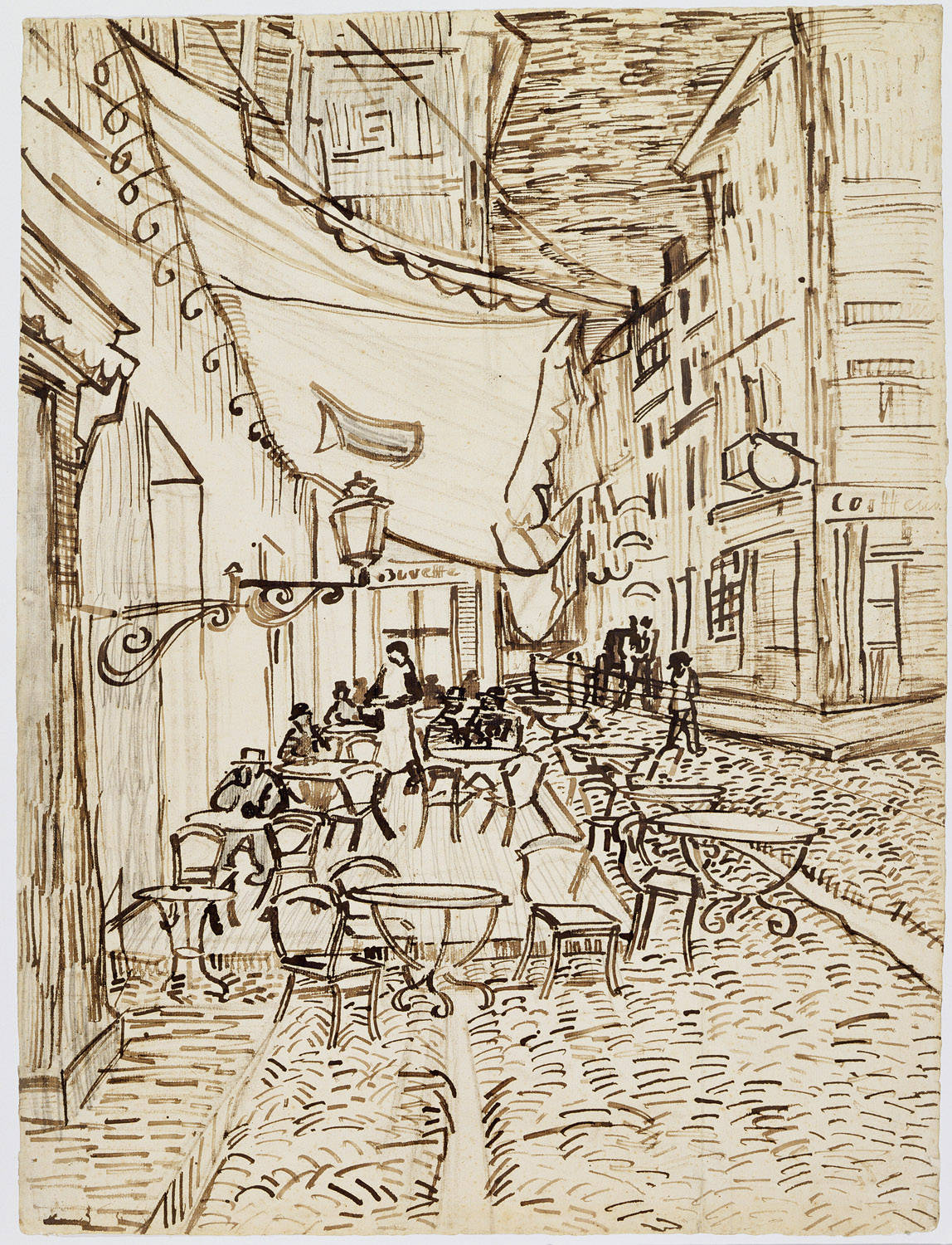 File Vincent van Gogh Café Terrace at Night 1888 Reed pen and