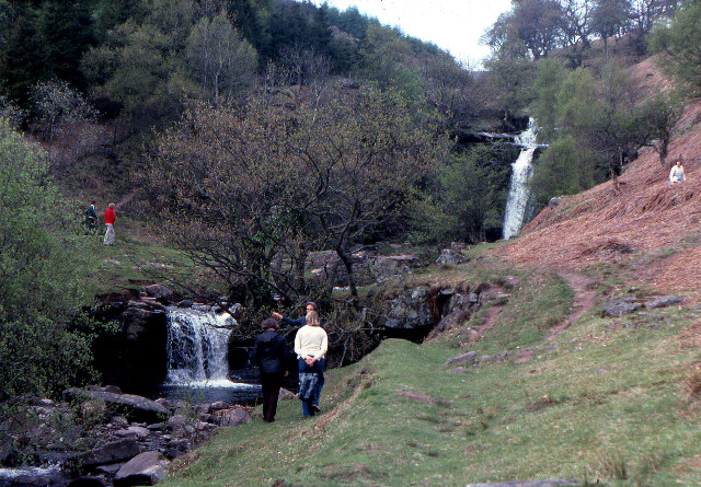Waterfalls on the Caerfanell, Blaen y Glyn, 1979 - geograph.org.uk - 67832