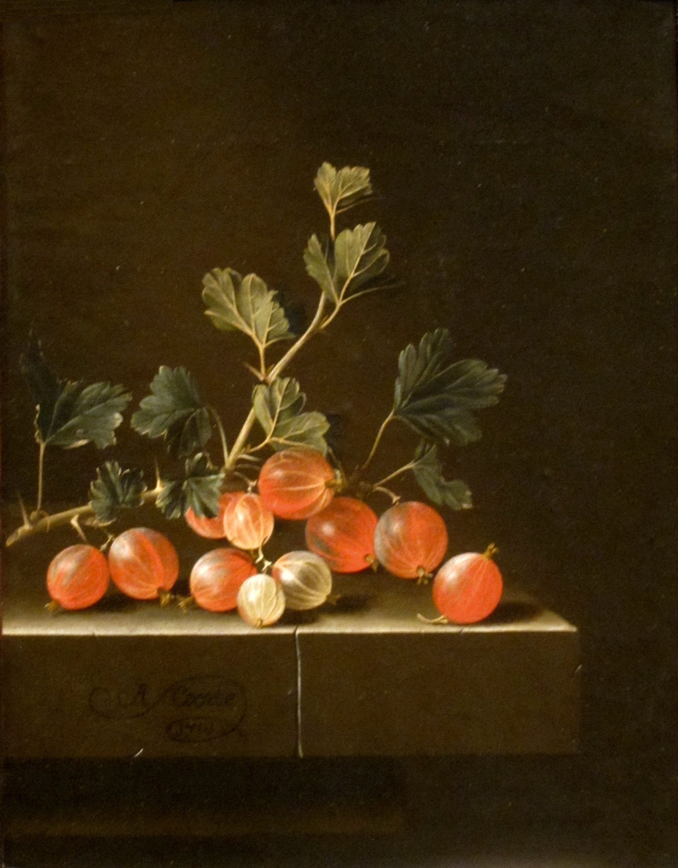 File Gooseberries On A Table By Adriaen Coorte 1701