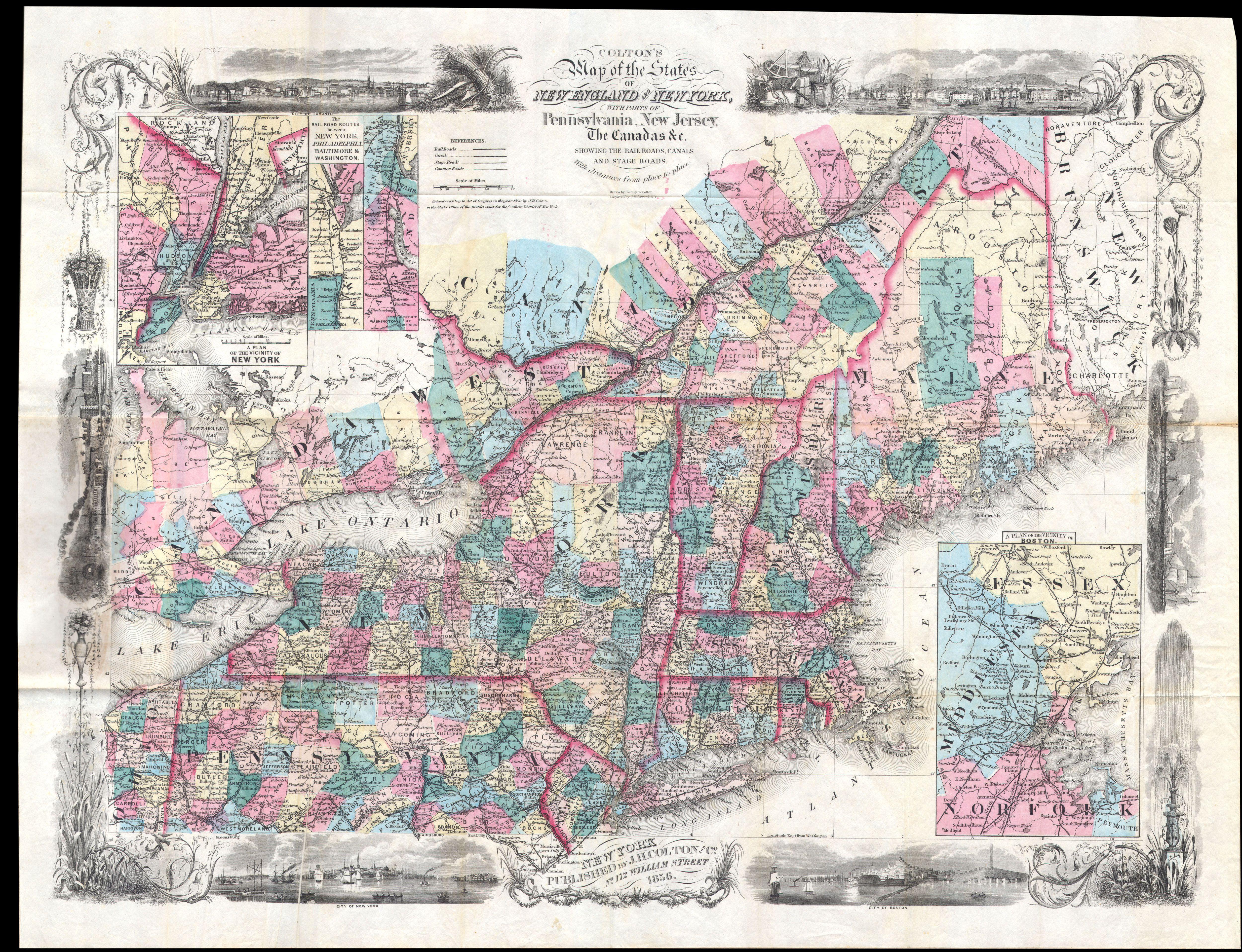 Worksheet. File1856 Colton Pocket Map of New England  New York
