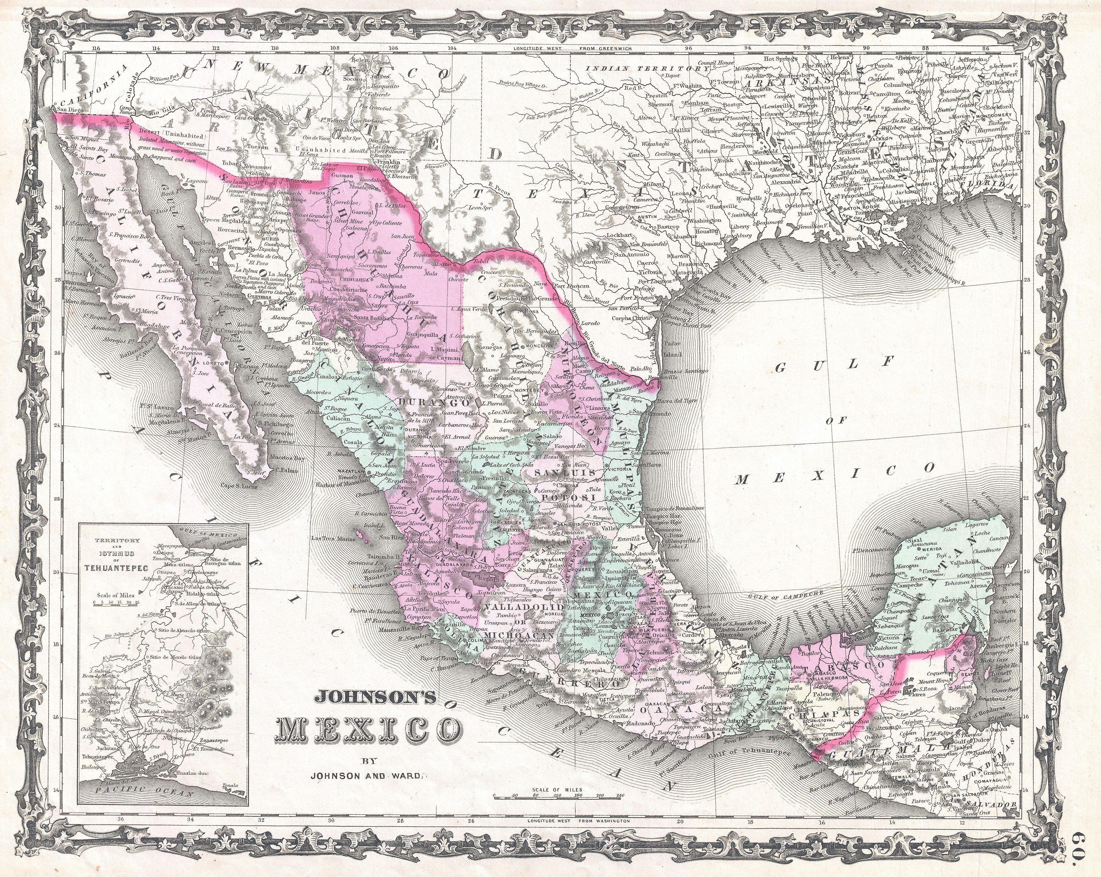 File:1862 Johnson Map of Mexico and Texas - Geographicus ...