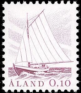 Frimärke som visar typisk åländsk båt