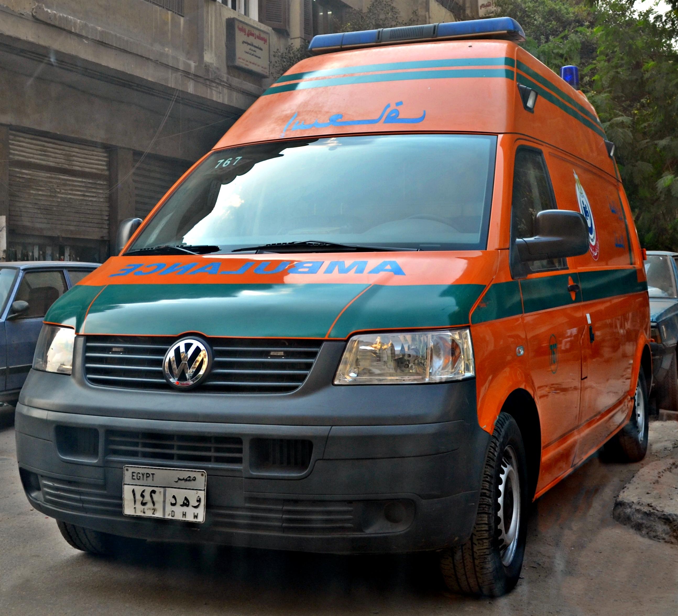 عاجل : حادثة مرورية مروعة أمام جامعة الأزهر بنات القاهرة Ambulance,_Cairo