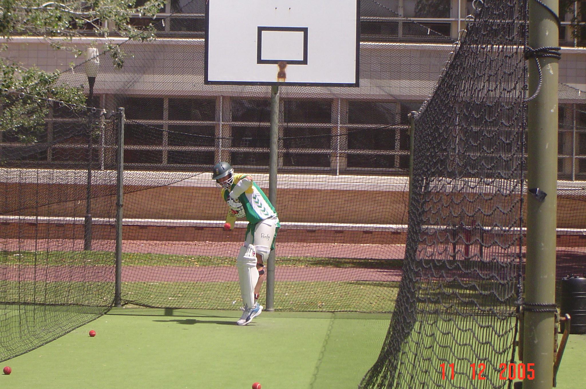 In the [[nets (cricket)|nets]] in Australia, 2005