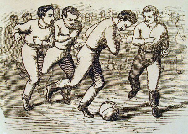 illustration of the first association football (soccer) game held in Hungary (1879) - History of Soccer