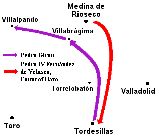 Map of army maneuvers.  The comunero army heads north to Villabr�¡gima, then west, leaving the way open for the royal army to march south from Medina de Rioseco to Tordesillas.