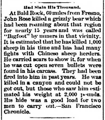 "1895 article describing a giant grizzly bear named ""Bigfoot"".[25]"