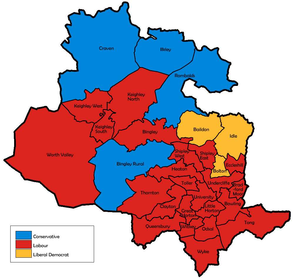 Map of the results for the 1996 Bradford council election.