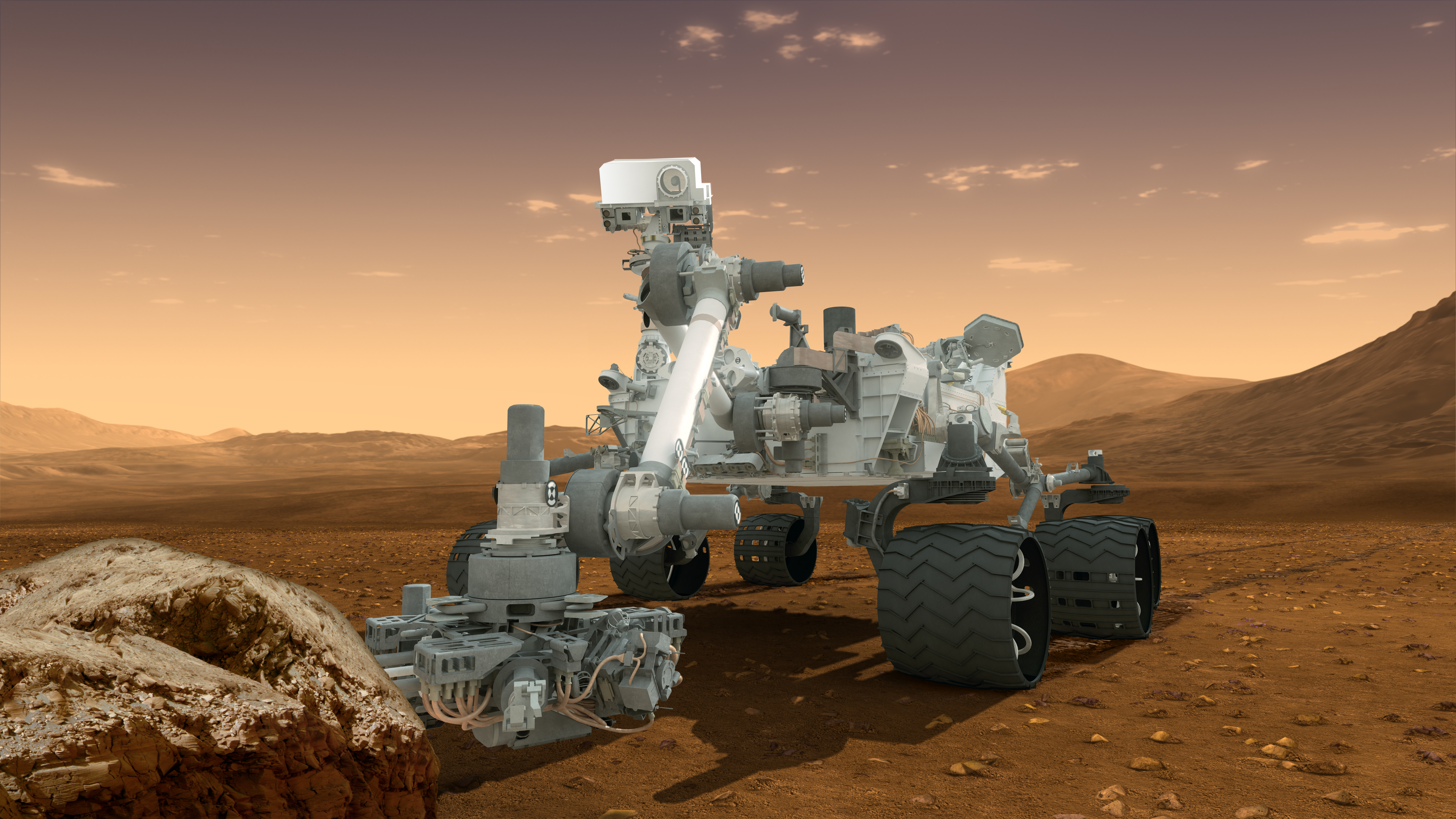 "This artist's concept features NASA's Mars Science Laboratory Curiosity rover, a mobile robot for investigating Mars' past or present ability to sustain microbial life. Curiosity landed near the Martian equator about 10:31 p.m., Aug. 5 PDT (1:31 a.m. Aug. 6 EDT) In this picture, the rover examines a rock on Mars with a set of tools at the end of the rover's arm, which extends about 7 feet (2 meters). Two instruments on the arm can study rocks up close. A drill can collect sample material from inside of rocks and a scoop can pick up samples of soil. The arm can sieve the samples and deliver fine powder to instruments inside the rover for thorough analysis. The mast, or rover's ""head,"" rises to about 6.9 feet (2.1 meters) above ground level, about as tall as a basketball player. This mast supports two remote-sensing science instruments: the Mast Camera, or ""eyes,"" for stereo color viewing of surrounding terrain and material collected by the arm; and, the Chemistry and Camera instrument, which uses a laser to vaporize a speck of material on rocks up to about 23 feet (7 meters) away and determines what elements the rocks are made of."
