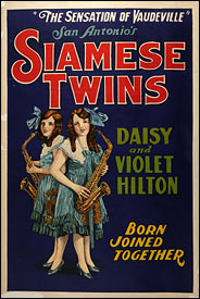 Scan of a poster circa 1920 of Daisy and Violet Hilton