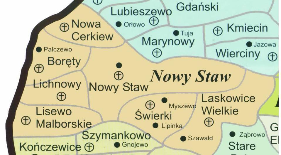 Mapa dekanatu Nowy Staw