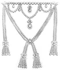 The diamond necklace was commissioned by Louis XV for his mistress, Madame du Barry, from the crown jewellers, Boehmer and Bassenge. With the death of the King, the necklace was not paid for, almost bankrupting the jewellers and leading to various unsuccessful schemes to secure a sale to Queen Marie-Antoinette.