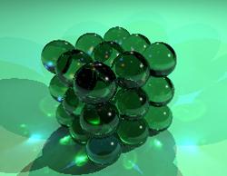 Illustratie A – Atomen gearrangeerd in een perfecte, kubusvormige kristalstructuur