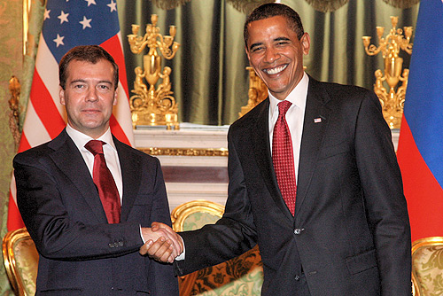 President Barack Obama with Russian President Dmitry Medvedev, July 6, 2009