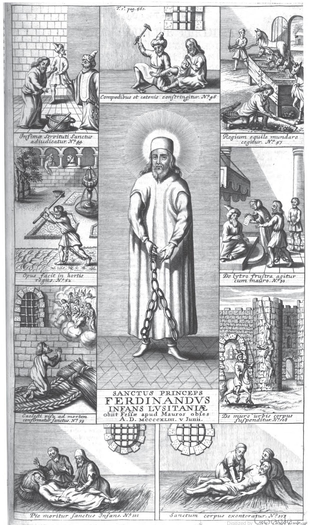 Scener fra Ferdinands fangenskap og død i Fez, fra bollandistenes Acta Sanctorum (1695)), den eneste kjente avbildningen av Ferdinand med helgenglorie