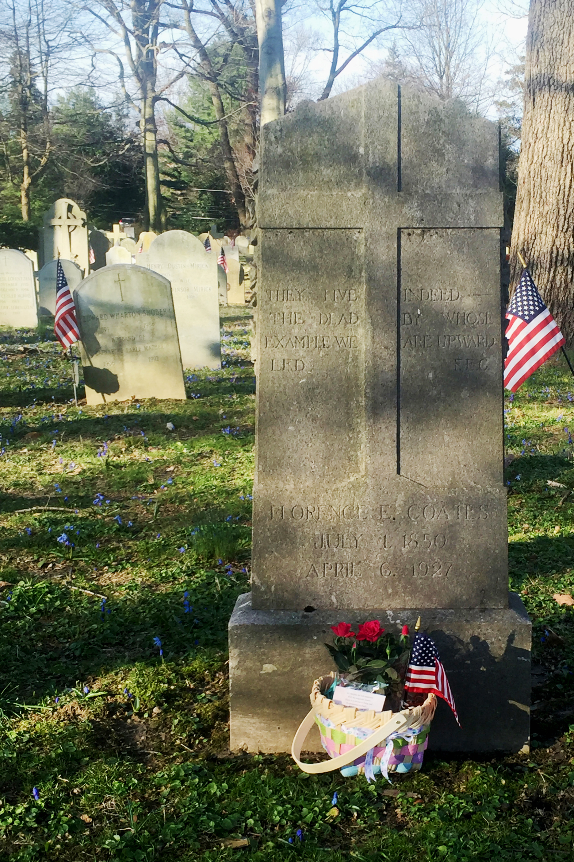 Florence Earle Coates gravestone, Church of the Redeemer Cemetery, Bryn Mawr 01.jpg