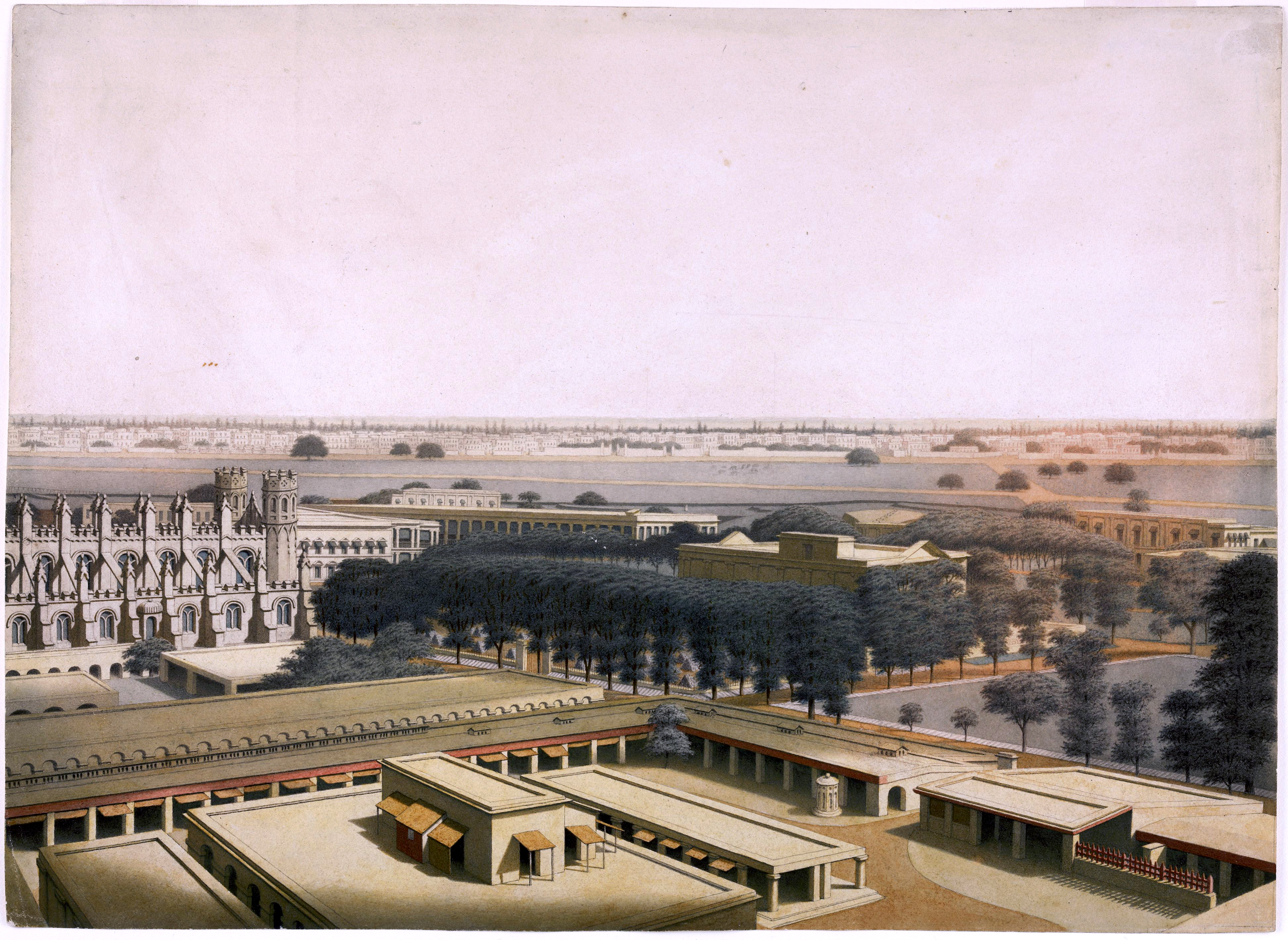A 19th century painting showing several buildings within a compound.