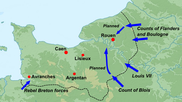 Events in Normandy, summer 1173 Great Revolt Normandy 1173.png