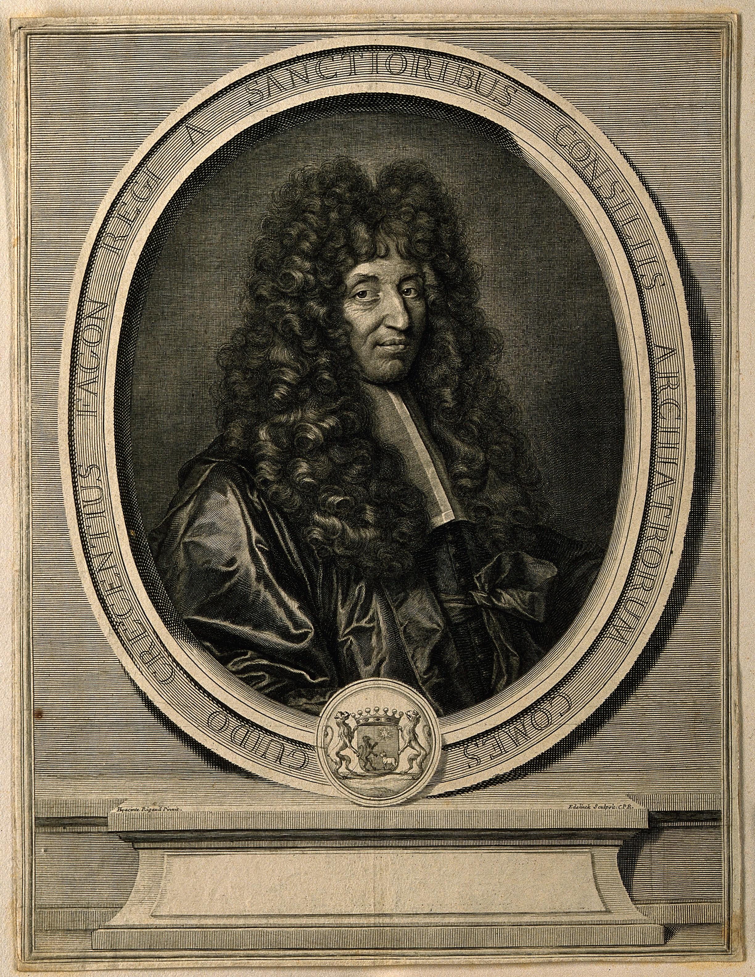 Line engraving by G. Edelinck, 1695, aft