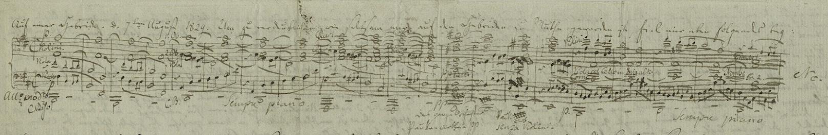 Mendelssohn's sketch of The Hebrides
