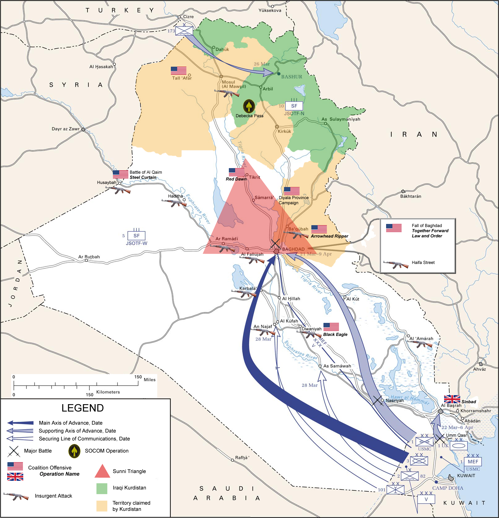 Map of the invasion routes and major operations/battles of the Iraq War as of 2007.