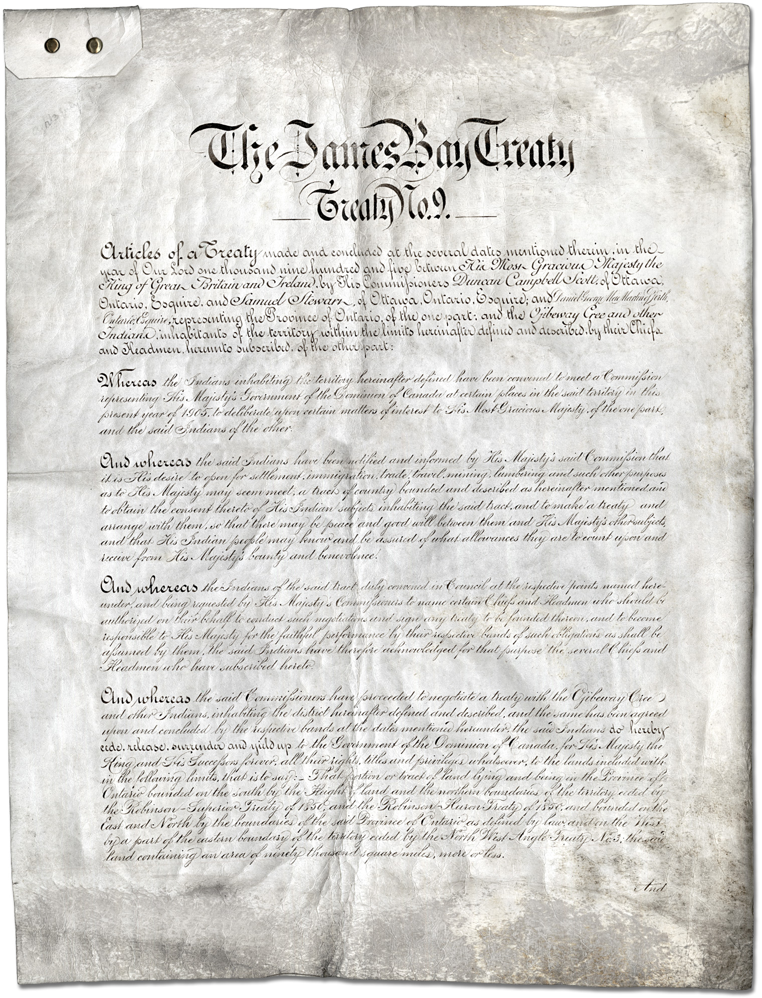 Photograph of The James Bay Treaty number 9 text.