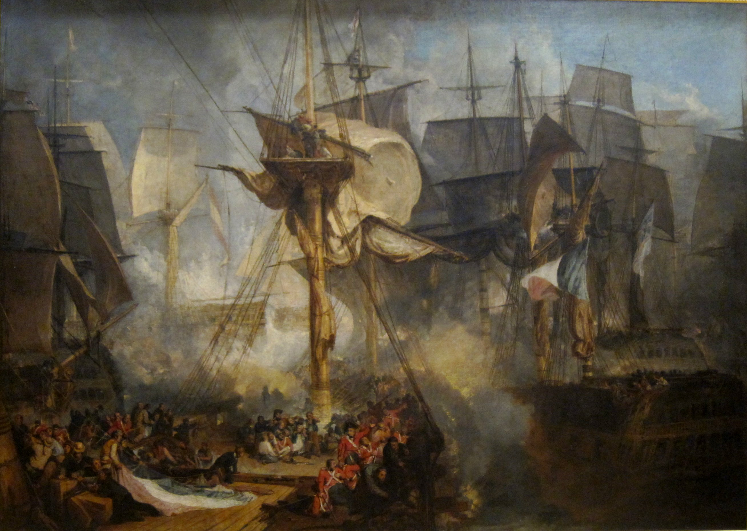 NAVAL BATTLE OF CARTAGENA PAINTING BRITISH FRENCH WAR ART REAL CANVAS PRINT