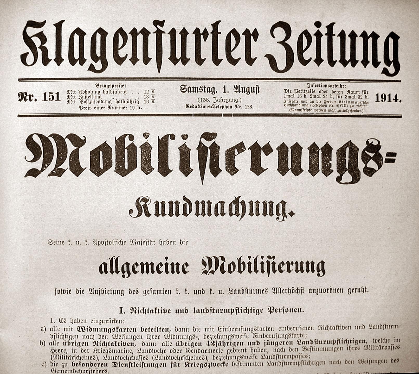 Österreichische Kundmachung vom 1. August 1914 über die Mobilisierung