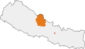 Map showing the location of Annapurna Conservation Area