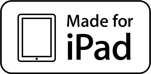 "The ""Made for iPad"" emblem appearing on Apple-approved iPad accessories."