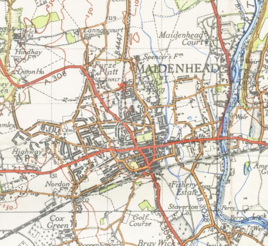 Map Of Maidenhead File:Maidenhead map 1945.   Wikimedia Commons Map Of Maidenhead