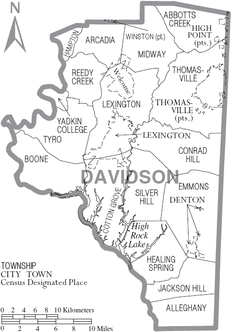 File:Map of Davidson County North Carolina With Municipal and