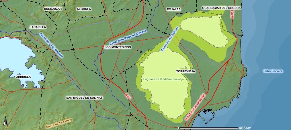 Karta Fran Alicante Till Torrevieja.Naturreservatet Lagunas De La Mata Och Torrevieja Wikipedia