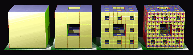construction of a Menger sponge (source: Wikipedia)