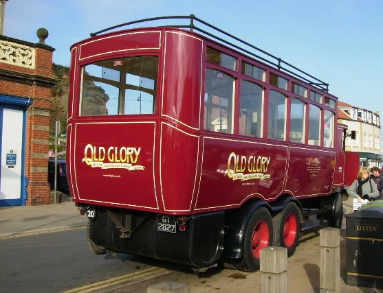 file old glory steam powered bus near whitby fish quay. Black Bedroom Furniture Sets. Home Design Ideas