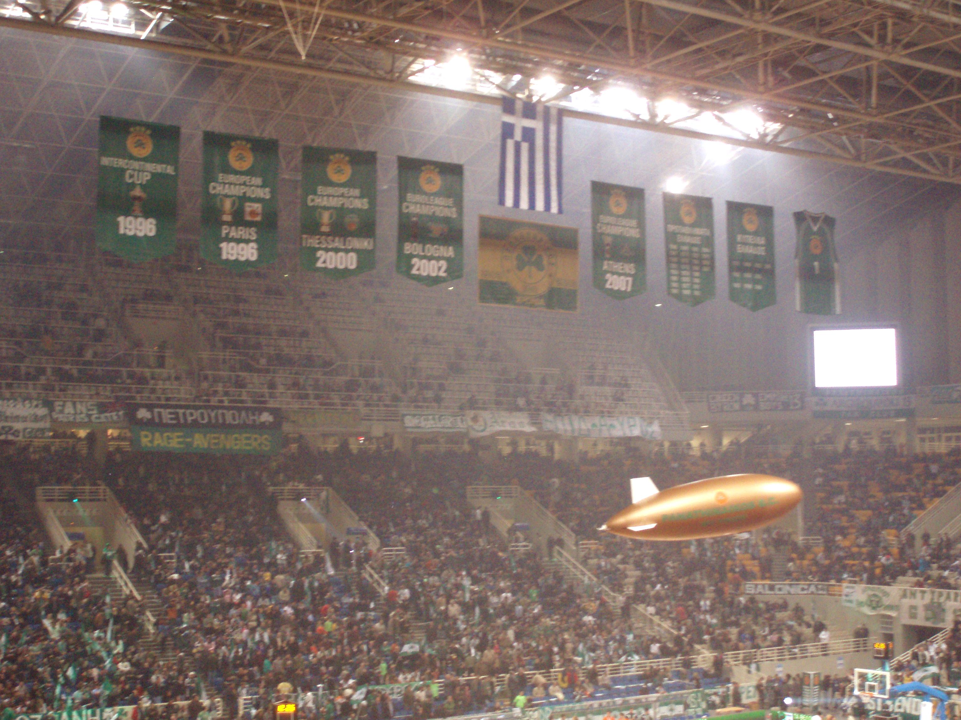 Panathinaikos banners at O.A.K.A.